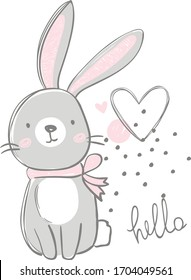 cute gray rabbit with the inscription hello and a heart on a white background