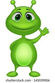 Cute green alien cartoon
