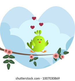 Cute green bird jumping on a branch with flowers. Cute sparrow with hearts on sky background