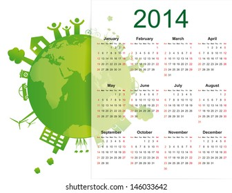 cute and green calendar on 2014 year with globe