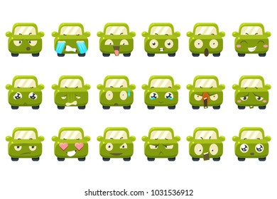 Cute green car cartoon characters showing different emotions sett, funny emoji for site, video, animation, websites, infographics, messages, comics, newsletters