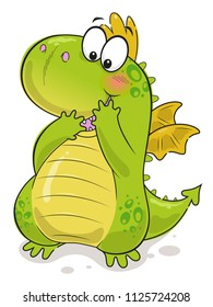 Cute green cartoon dragon on the white background.