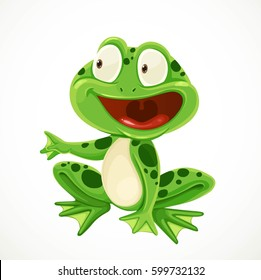Cute green cartoon frog isolated on a white background