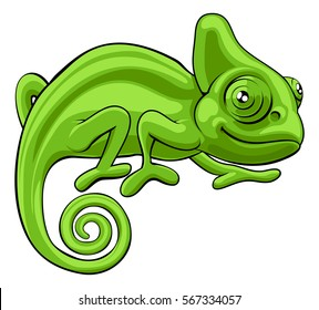 A cute green chameleon lizard cartoon character