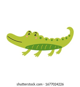 Cute green crocodile. The cheerful crocodile smiles. Children's animal character. Vector editable illustration