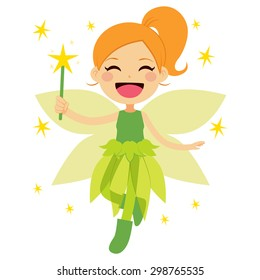 Cute green fairy holding magical star wand flying happy