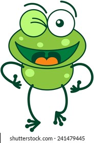 Cute green frog with bulging eyes and long legs while winking and making thumbs up hand gestures