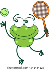 Cute green frog with bulging eyes and long legs while preparing to hit a tennis ball with a racket as for serving