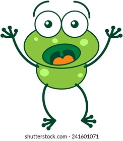Cute green frog with bulging eyes and long legs while widely opening its eyes, raising its arms and showing surprise and fear