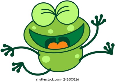 Cute green frog with bulging eyes and long legs while clenching its eyes, jumping and feeling enthusiastic as for celebrating something