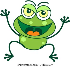 Cute green frog with bulging eyes and long legs while smiling, frowning, jumping, raising its arms and showing a mischievous attitude