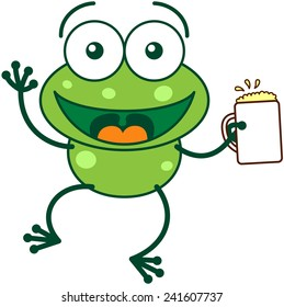 Cute green frog with bulging eyes and long legs while waving and holding a glass of beer as for celebrating something