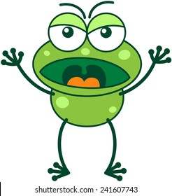 Cute green frog with bulging eyes and long legs while frowning, raising its arms, yelling and showing a very angry mood
