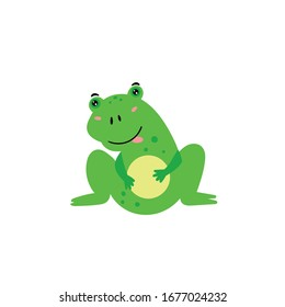 Cute green frog. A cheerful frog is smiling. Children's animal character. Vector editable illustration