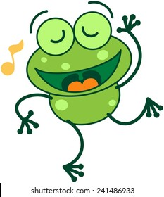 Cute green frog with long legs while closing its bulging eyes, showing a musical note and dancing animatedly