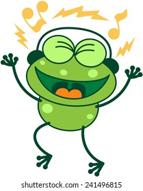 Cute green frog with long legs while clenching its bulging eyes, smiling, having fun and listening to music thanks to its headphones