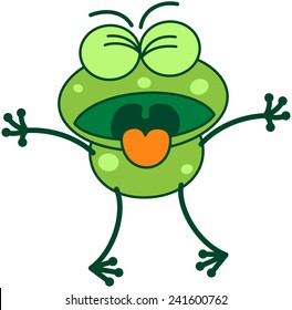 Cute green frog with long legs while clenching its bulging eyes and showing a disgusted mood by opening its mouth and sticking its tongue out as for throwing up something