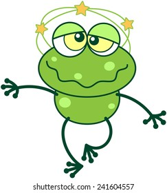 Cute green frog with long legs and funny bulging eyes while feeling dizzy, showing yellow stars spinning around its head, walking unsteadily and making a big effort to keep balance