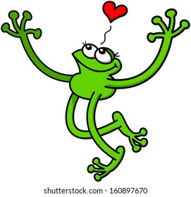 Cute green frog in love while extending its arms for giving a big hug, smiling enthusiastically and showing a red heart above its head