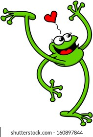 Cute green frog in love while raising an arm and a leg high, smiling enthusiastically and showing a red heart above its head