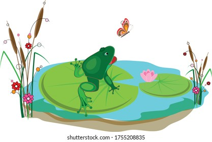 A cute green frog sits on a leaf of a water lily in a pond and catches a beautiful butterfly. Vector illustration for design.