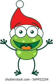Cute green frog with spotted skin, long legs and wearing a Christmas Santa hat while wide opening its eyes, stretching its arms, smiling and greeting enthusiastically