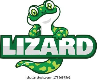 Cute Green Lizard Cartoon Character Design
