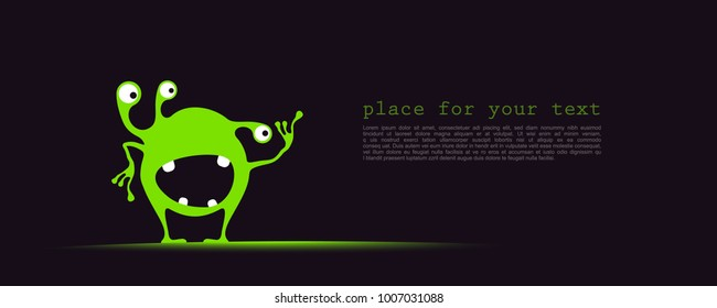 Cute green monster with funny emotions and place for text on dark background. cartoon illustration