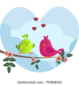 Cute green and pink birds sitting on a branch with flowers. Cute sparrows in love on sky background