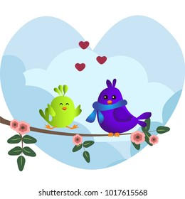 Cute green and purple birds sitting on a branch with flowers. Cute sparrows in love on sky background