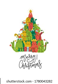 Cute green and red cats Christmas tree silhouette. Funny greeting card for pet lovers. Vector flat hand drawn illustration doodle. Stack of cats acting xmas tree. Line lettering - Merry Christmas.