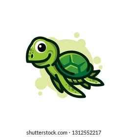 cute green Sea turtle cartoon character logo design illustration. Sea turtle mascot icon