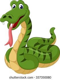 Cute green snake cartoon of illustration