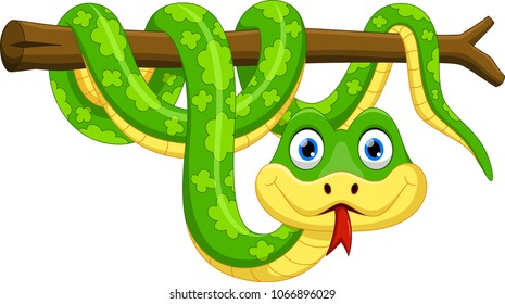 Cute green snake cartoon on branch