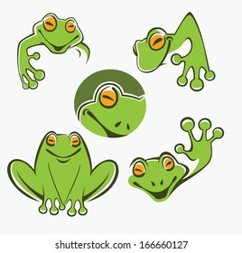 Cute green tree frog cartoon character Icons, symbols and emblems