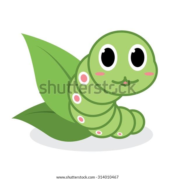 动漫人物剪贴画_Cute Green Worm Cartoon Green Tea 库存矢量图(免版税)314010467