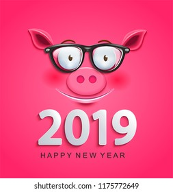 Cute greeting card for 2019 new year with smiling clever pig's face in glasses on pink background.Chinese symbol of the 2019 year. Zodiac, lunar sign of goroscope.Year of the pig. Vector illustration.