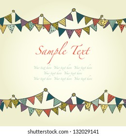Cute greeting card with colorful childish bunting flags. Vector illustration.