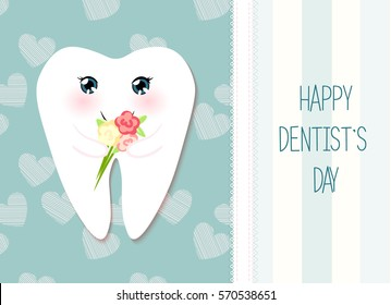 Cute greeting card Happy Dentist Day as funny smiling cartoon character of tooth with golden glitter crown
