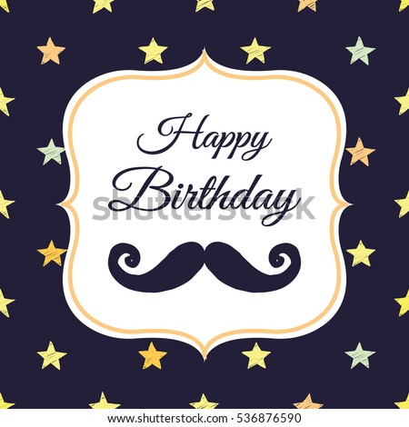 Cute Greeting Card Hipster Mustache Happy Stock Vector Royalty Free