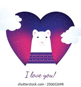 Cute greeting card with polar bear on white background