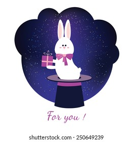 Cute greeting card with rabbit on white background