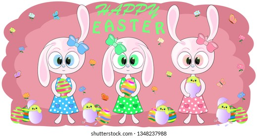 cute greeting card rabbits with easter egs vector illustration. Cute Cartoon pink Bunny and Сhicken on a pink background. Yellow Chicken in easter egs. Flowers and Butterflies. Hare cartoon vector.
