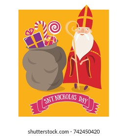 Cute greeting card with Saint Nicholas (Sinterklaas) with mitre stuff riding his horse.