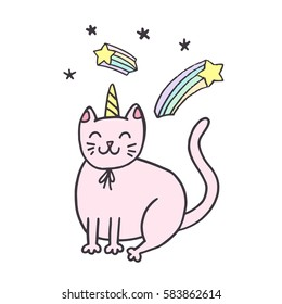Cute greeting card, sticker, illustration. Cat with corn and stars. Doodle hand drawn sketch.