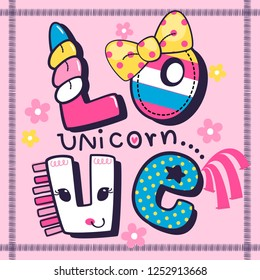 Cute greeting card template. Love unicorn in frame on pink background illustration vector.