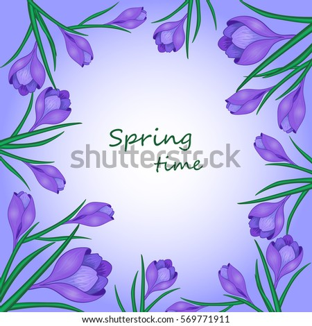 Cute Greeting Card With The Words Spring Time And FlowersVector Illustration