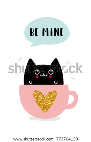 Cute greeting cards valentines day cat stock vector royalty free cute greeting cards for valentines day with cat in kawaii style vector illustration m4hsunfo
