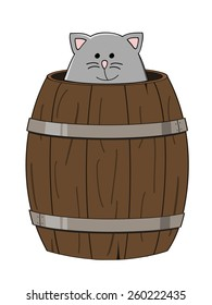 cute grey cat looking out a wooden barrel