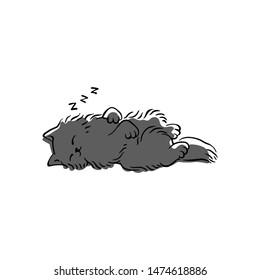 Cute grey cat sleeping on its back - simple cartoon drawing of fluffy pet animal in funny pose taking a nap on the floor. Isolated hand drawn vector illustration.